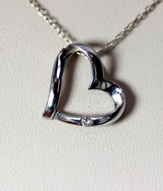 "Beautiful 10K White gold .04ct Diamond Open Heart Pendant .75"" – 8253"