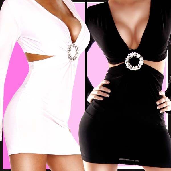 NEU SEXY HOT langarm Minikleid  DRESS mit STRASS misS