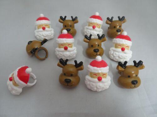 12 Bonhomme De Neige /& Père Noël Nouveauté Cupcake Rings