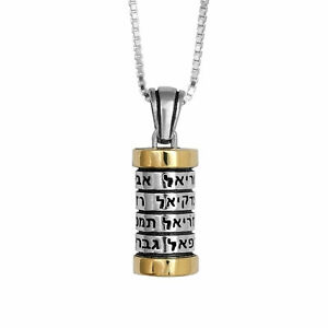 Pendant-Mezuzah-w-12-Names-of-Angels-Amulet-Sterling-Silver-amp-Gold-9K-amulet