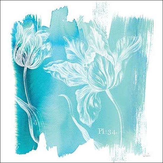 Sue schlabach  Water Wash i telaio-Immagine Tela Fiori Blu Acquerello