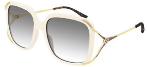 Lunettes de Soleil Gucci GG0647S Ivory/Grey Shaded 56/18/130 femme