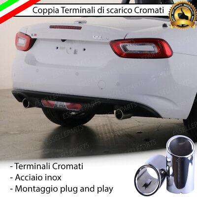 COPPIA TERMINALE SCARICO CROMATO LUCIDO ACCAIO INOX SKODA SUPERB MK2 DOPPIO