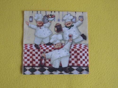 5 trozo servilletas three jefes Koch cocineros bala redonda cocina serviettentechnik