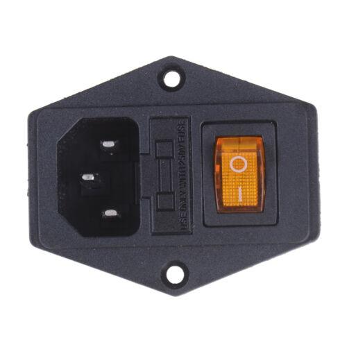 10A 250V Prise puissance mâlecommutateur prise module d/'entrée 3Pin IEC320 C14O*