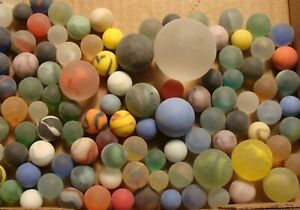100-Vintage-Glass-Satin-Marbles-Swirls-Cats-Eye-Jewel-Frosted-Shooters-Boulder