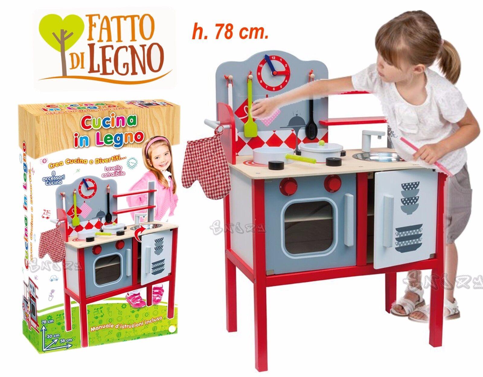 CUCINA PER BAMBINI GIOCO IN LEGNO GIOCATTOLO IN LEGNO CON ACCESSORI H. 78 CM.