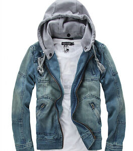 efeb76d2d HOT Mens Retro Denim Hooded Zip Jean Jacket Hood Coat Cowboy Plus ...