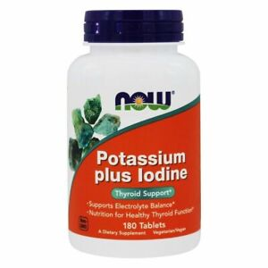 Now Foods POTASSIUM Plus IODINE - 180 Tablets THYROID ...