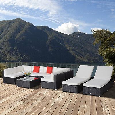 Outsunny 9pcs Delux Outdoor Indoor Wicker Rattan Sofa Set Patio Rattan Wicker