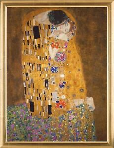Gustav-Klimt-Der-Kuss-Hochwertiger-Kunstdruck-gerahmt