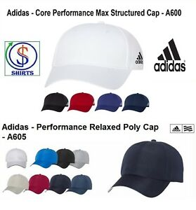 Adidas Core Performance Max Structured A600 OR Relaxed Poly Cap A605 ... 2d605c883c60