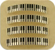 2 Hole Beads Music Piano Key Bangle Bars ~ Silver Plated Metal ~ Sliders Qty 4
