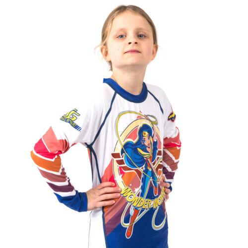 Long Sleeve Fusion Wonder Woman Kids Rash Guard Compression Shirt