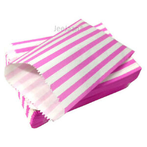 "100 Pink & White Candy Stripe Paper Sweet Bags Wedding 5""X 7"" Pick ""n"" Mix Bags"