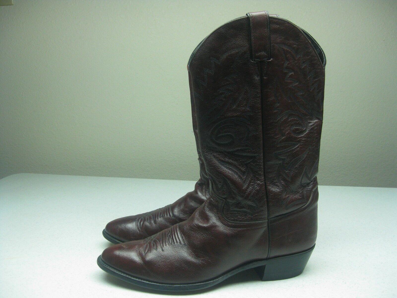 Vintage Justin Borgoña occidental botas de vaquero Tamaño 13 D