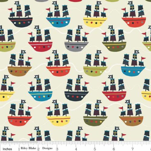 Fat Quarter Treasure Map Pirate Ship Cream Flannel Quilting Fabric Riley Blake