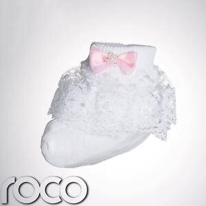 fb76bc65f971 Baby Girls White Frilly Socks Pink Bow Infant Youth Designer Dress ...