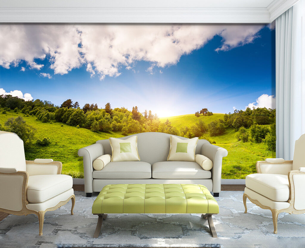3D grassland Grün sunlight Wall Paper Print Decal Wall Deco Indoor wall Mural