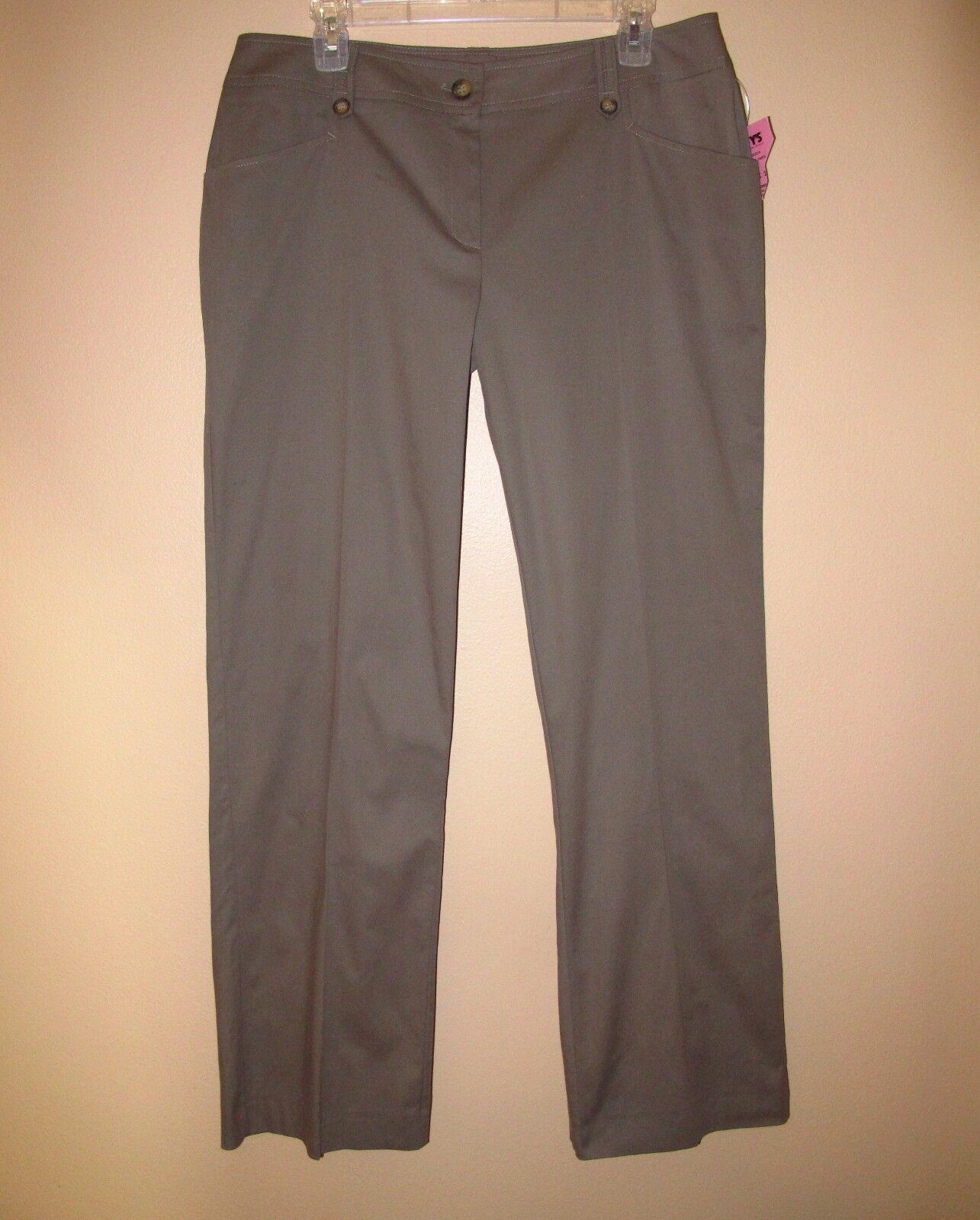 Marina Rinaldi Max Mara Bootcut Dark Taupe Grey Stretch Cotton Pants MR21 12-14W