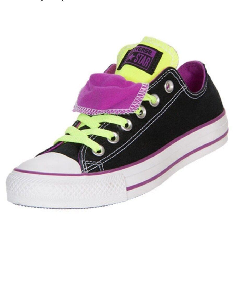 NEW-Converse All Star Double Low Top Sneaker Black Purple Neon Shoes Men's 13