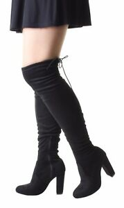 Details about Womens Wide Leg Thigh Over The Knee Wide Fit Stretch Black  Suede High Heel Boots 05e3e4dfa
