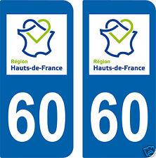 2 STICKERS style PLAQUE D'IMMATRICULATION Département HDF 60 HAUTS-DE-FRANCE