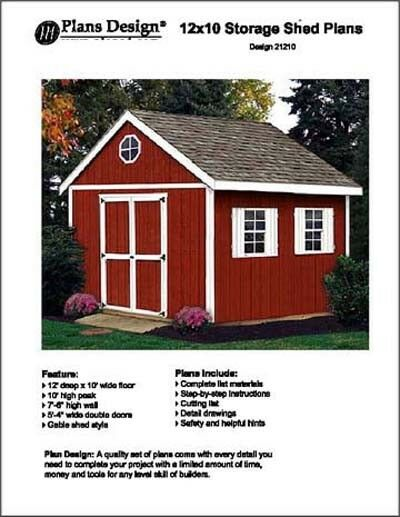 12 x 10 garden wood storage backyard outdoor shed plans design