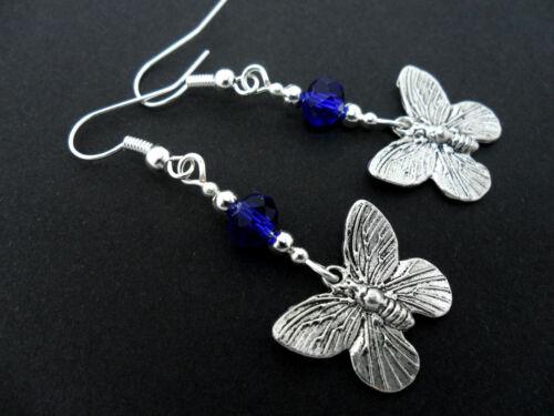 NEW. A PAIR TIBETAN SILVER BLUE CRYSTAL BEAD DANGLY BUTTERFLY   EARRINGS