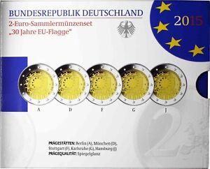 5-x-2-Euro-Europa-Flagge-Deutschland-2015-Polierte-Platte-Mzz-A-D-F-G-J-im-Satz
