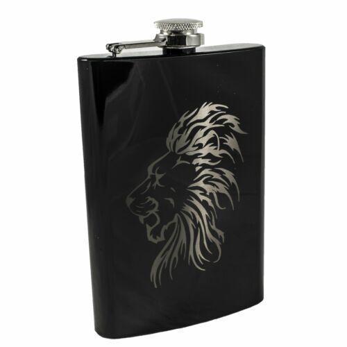 8oz BLACK Lion Flask Laser Engraved