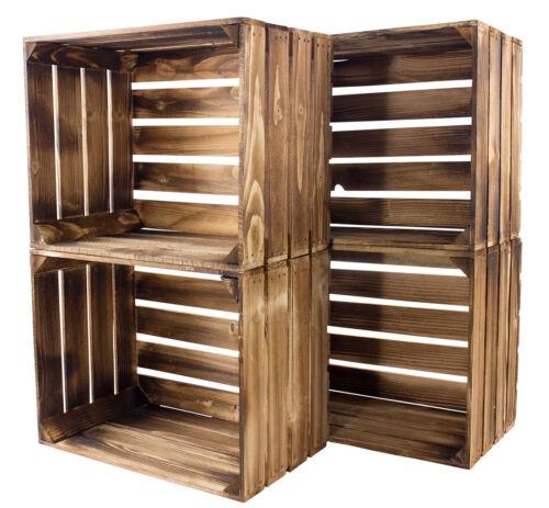 8 geflammte//braune Weinkiste Holzkisten Obstkiste Kiste Box Apfelkiste Regal 6