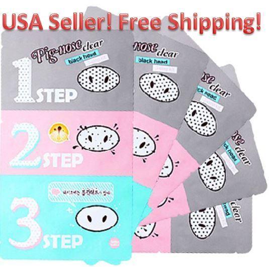 HOLIKA HOLIKA Pig-nose Clear Black Head 3 Step Kit /Korea Cosmetics USA Seller!