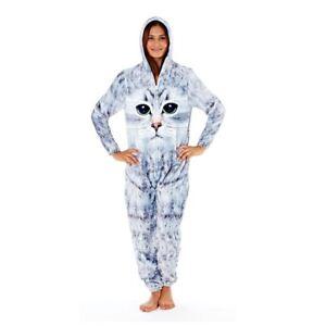 Womens-Ladies-Cat-Print-Luxury-Fleece-Hooded-All-In-One-Pyjamas-Size-10-20