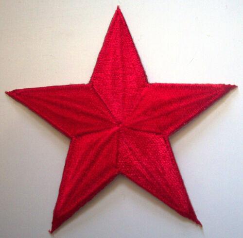 BRIGHT RED 3 inch iron on star patch applique rockabilly punk kid girl boy 132