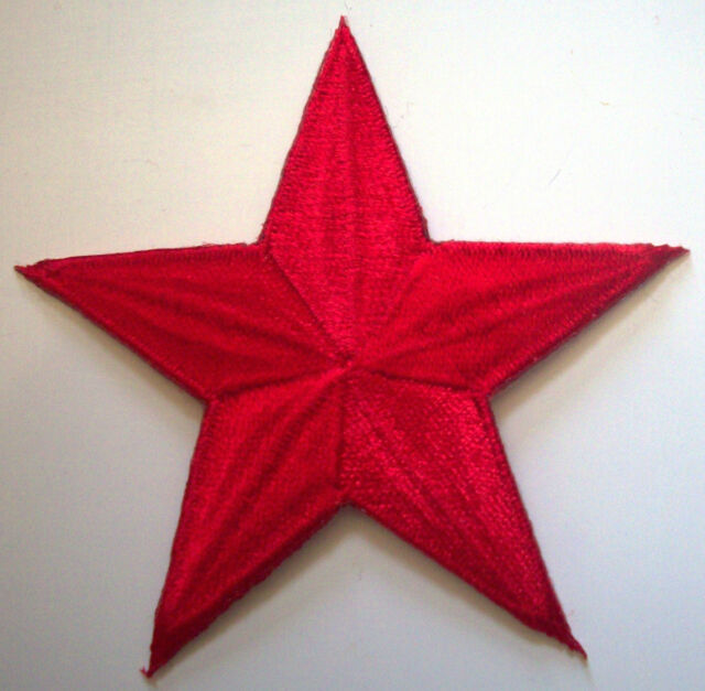 BRIGHT RED 1.5 inch iron on NAUTICAL STAR patch applique rockabilly punk 125