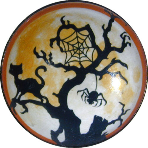 Crystal Dome Button LgSz Full Moon Tree Spider Web Cat FREE US SHIPPING