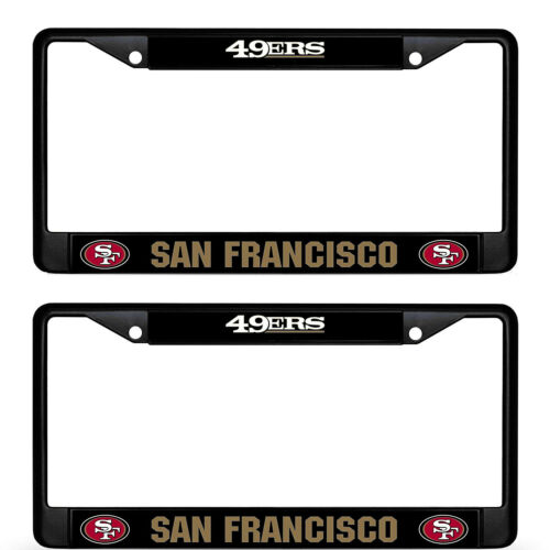 2 PC NEW Football Team San Francisco 49ERS Metal Black License Plate Frame