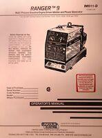Lincoln Ranger 9 Welder & Onan P218 Engine Operator & Service (2 Manuals) 102pg