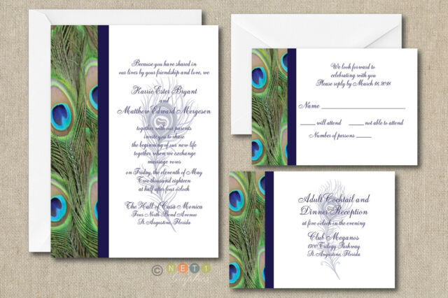 100 Personalized Peacock Feather Wedding Invitation Set With