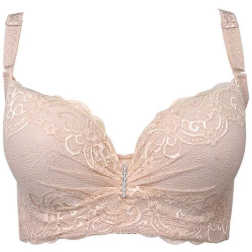 Women Push Up Bra Floral Lace Bra Underwire Lingerie Plus Size 12-24 C D DD E