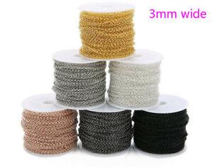 10Yards-Roll-3mm-Width-ROLO-Link-Chain-Metal-Iron-Bulk-Chain-Diy-Jewelry-Making