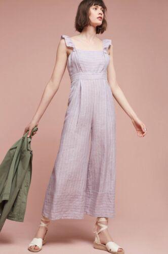 NEW Anthropologie Nantucket Ruffled Jumpsuit Size 8 Lavender Stripe
