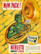 1950 vintage food AD NIBLETS CORN Jolly Gren Giant    Beautiful Ad  052115