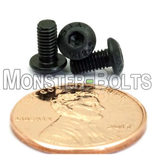 M3-0.50 x 6mm Button Head Socket Caps Screws 12.9 Alloy Steel Blk Ox ISO 7380