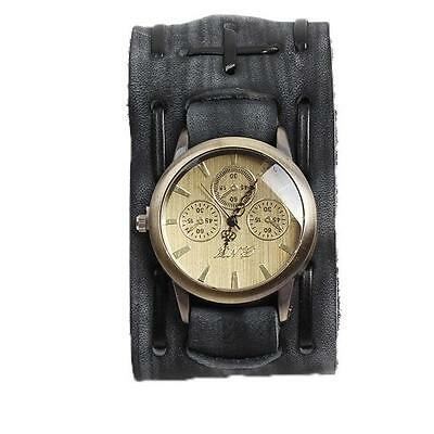 Pop Hot Gothic/Rock/Punk Style Men/Women Watch Big Leather Cuff Wrist Watch - 6A