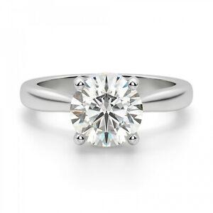 2.20 Ct Round Moissanite Wedding Ring 14K Hallmarked Solid White Gold Size 7 8 9