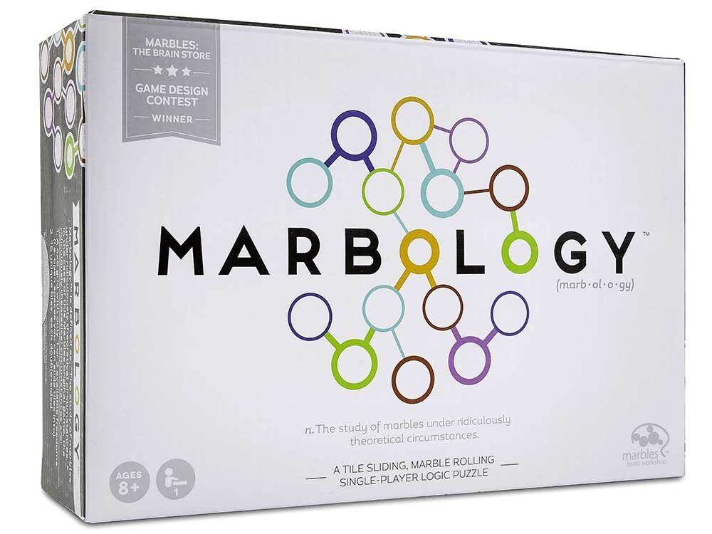 NEW Spin Master MARBLES Wooden Box Puzzle MARBOLOGY Marble - game 4 challenges