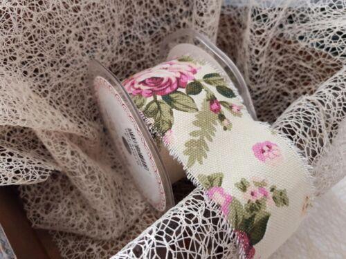 3 nuances Bertie/'s Bows Vintage Florals-Lin Imprimé Effilochée Bord Ruban 50 mm