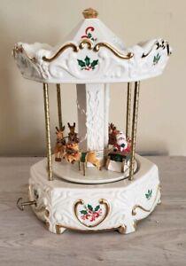 Vintage-Santa-Sleigh-Musical-Carousel-International-Silver-Company-Christmas